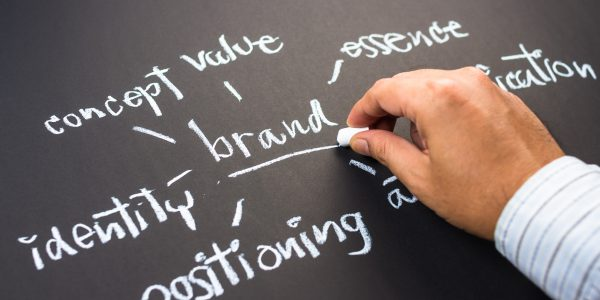 Hand writing business branding concept on chalkboard